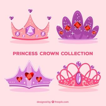 Quatre couronnes de princesse rose et purle