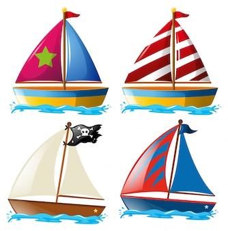 Quatre dessins de voiliers