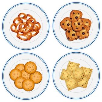 Quatre enfants sur les collations sur l'illustration des assiettes