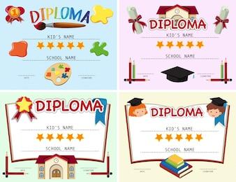 Quatre modèle de diplôme avec des éléments de l'école en arrière-plan
