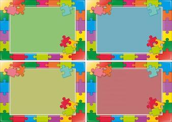 Quatre modèles de cadres avec puzzle