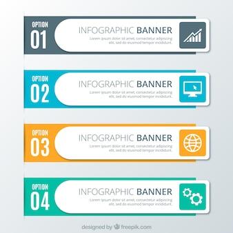 Quatre options infographiques dans la conception plate