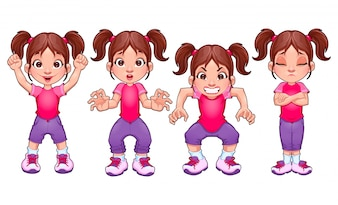 Quatre poses de la même fille dans ses différentes expressions vecteur dessin animé isolé caractères