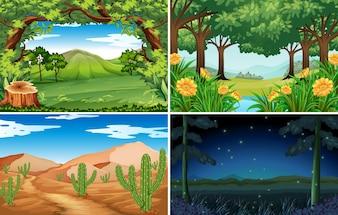 Quatre scènes de forêt et de désert