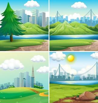 Quatre scènes de villes et de parcs