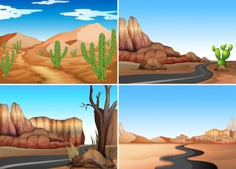 Quatre scènes du désert avec des routes vides