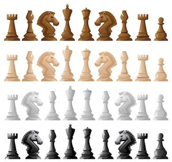 Quatre séries d'illustration des échecs