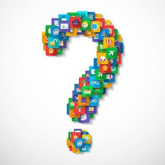 Question mark de l'application mobile icônes de voyage concept illustration vectorielle