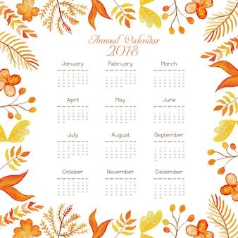 """Calendrier floral aquarelle orange 2018"""