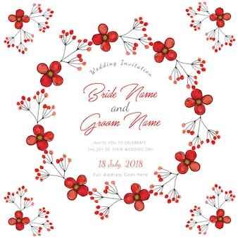 """""""Carte florale d'invitation de mariage d'aquarelle rouge"""""""