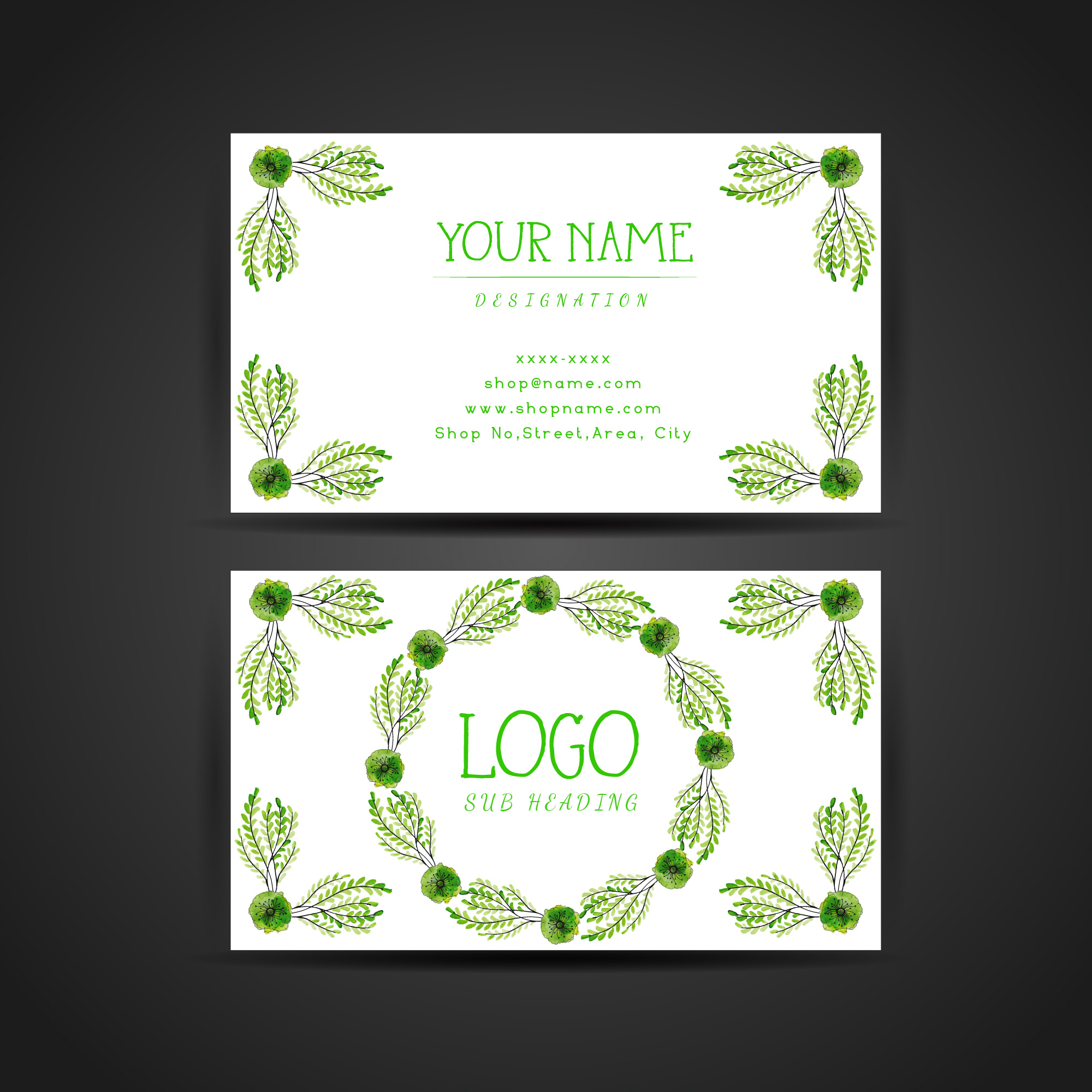 """Green Floral Wreath Visiting Card"""
