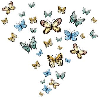 """""""Papillon d'aquarelle jaune et bleu"""""""