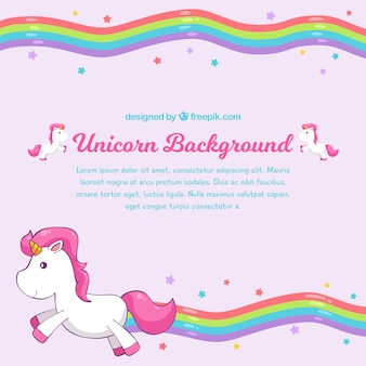 Rainbow fond rose avec licorne