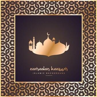 ramadan et festival de eid voeux avec cadre de bordure de motif