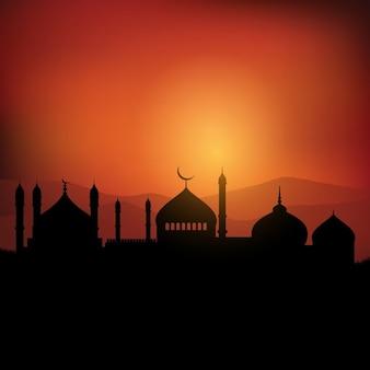 Ramadan fond de paysage au coucher du soleil