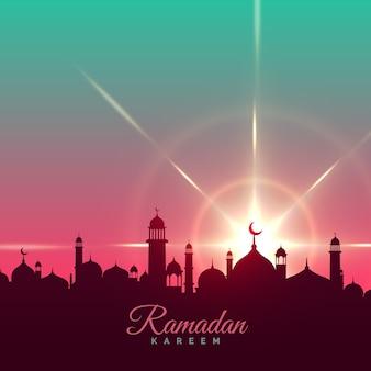 Ramadan kareem fond d'accueil avec la silhouette de la mosquée
