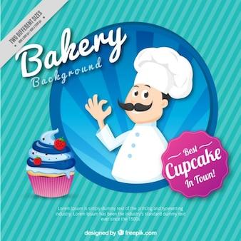 Rayures fond avec un boulanger et petit gâteau