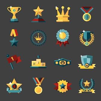 Récompense, icônes, ensemble, trophée, médaille, gagnant, prix, champion, tasse, isolé, vecteur, illustration