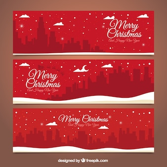 Red banners merry christmas avec paysage urbain