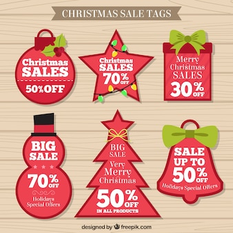 Red Christmas Sale Tags Collection