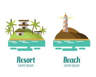 Resort et paysage de plage. éléments de conception plats. illustration vectorielle