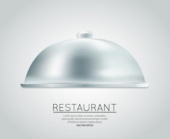 Restaurant cloche nourriture plateau à servir plat repas restaurant menu conception modèle mise en page illustration vectorielle