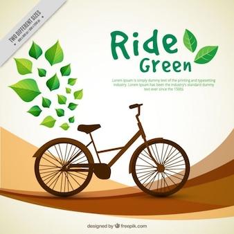 Résumé de fond avec des feuilles et vélo vintage