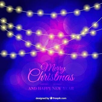 Résumé de fond avec des lumières de Noël