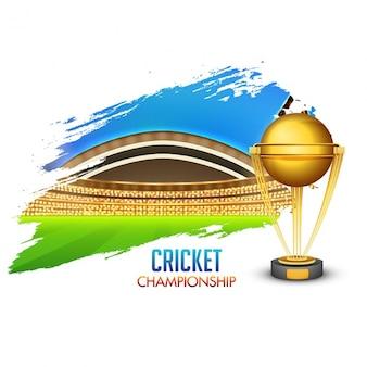 Résumé de fond avec le trophée et le cricket stade