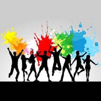 Résumé de fond de musique grunge avec des icônes colorées de peinture