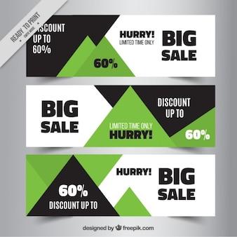 Résumé des bannières de vente dans les couleurs noir et vert