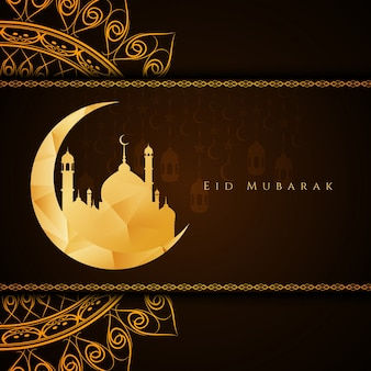 Résumé élégant Eid Mubarak brun fond
