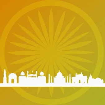 Résumé fond indien avec des silhouettes de construction