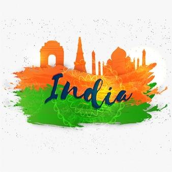 Résumé indien république jour fond avec monuments silhouettes
