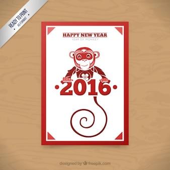 Résumé singe carte chinois de l'année dans la couleur rouge