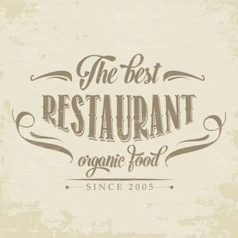 Rétro affiche de restaurant d'aliments biologiques