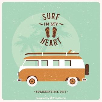 Rétro affiche de van pour l'été