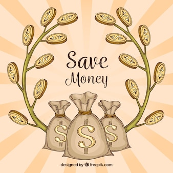 Retro background of money bags and branches with coins