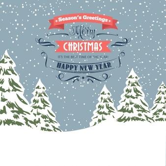 Rétro carte de Noël enneigée