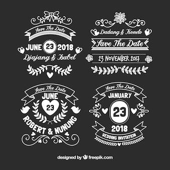 Rétro collection d'étiquettes de mariage