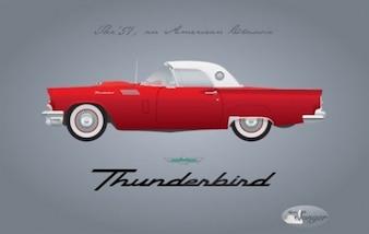 Rétro Ford Thunderbird en rouge