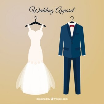 Robe Brid et costume de mariage avec des cintres