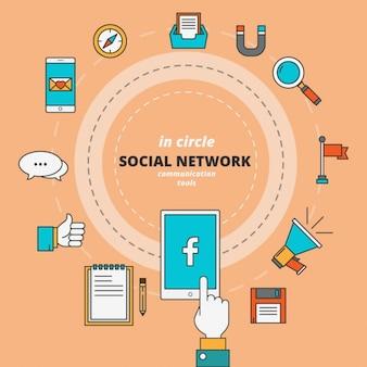 Round infographie de médias sociaux