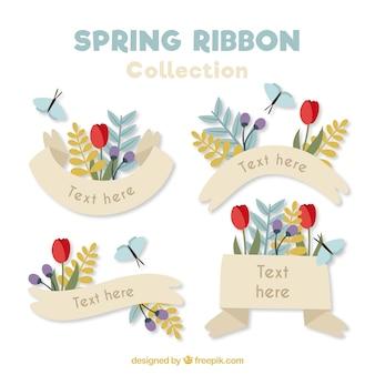 Rubans décoratifs printemps avec des fleurs et des papillons