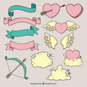 Rubans et autres éléments de valentine dessinés à la main
