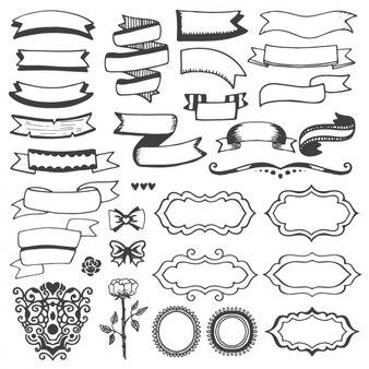 Rubans et cadres dessinés à la main