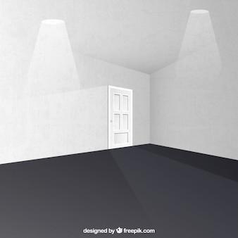 salle blanche avec une porte et projecteurs
