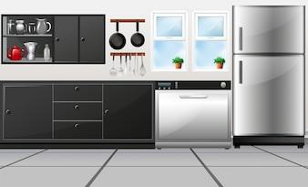 Salle de cuisine avec ustensiles et illustration d'appareils électroniques