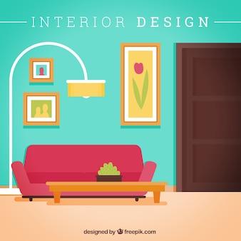 Salon avec canapé et lampe