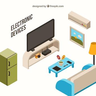 Salon avec meubles et appareils isométriques
